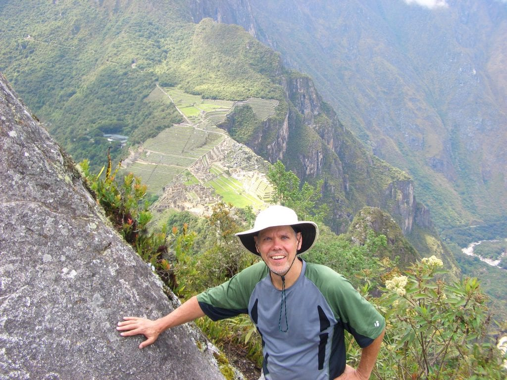 Looking at Machu Picchu city from the peak of Huaynu Picchu